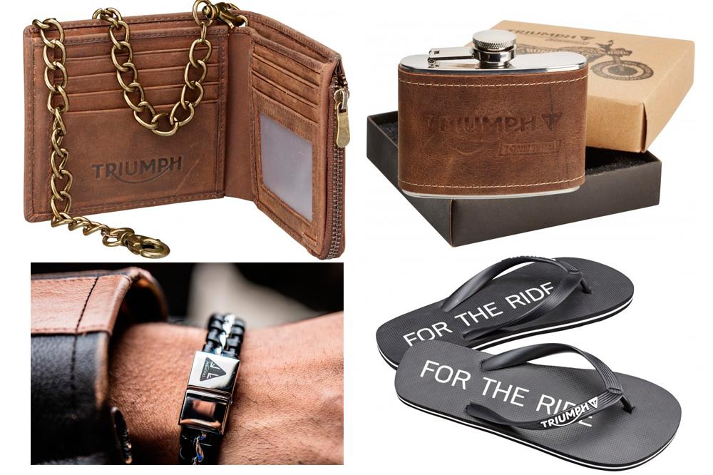 Cartera, petaca, pulseras y chanclas Triumph