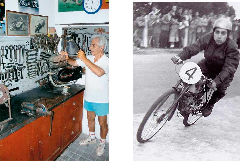 Ramón Martín en la actualidad con su banco antiguo de trabajo