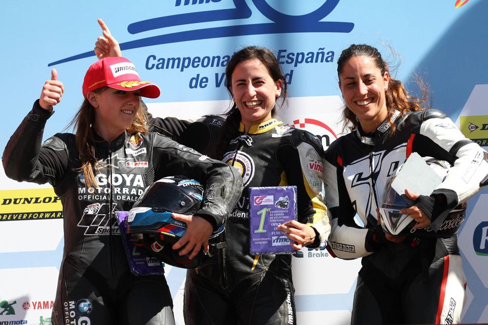 María Barbero, en el podio