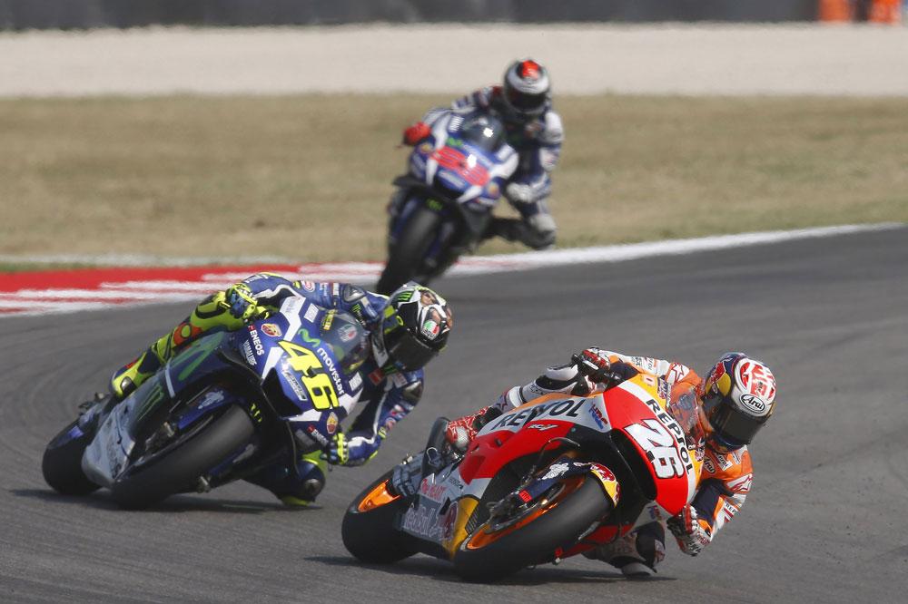 Victoria de Dani Pedrosa en San Marino por delante de Rossi y de Lorenzo