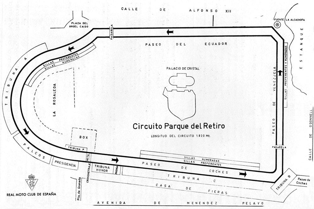 Plano circuito Parque Del Retiro