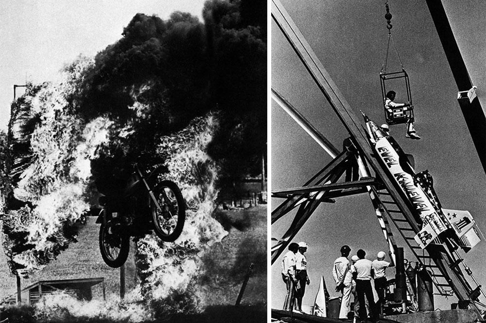Acrobacias en moto fuego y cohete