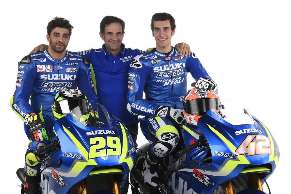 Equipo Suzuki MotoGP con Iannone, Brivio y Rins