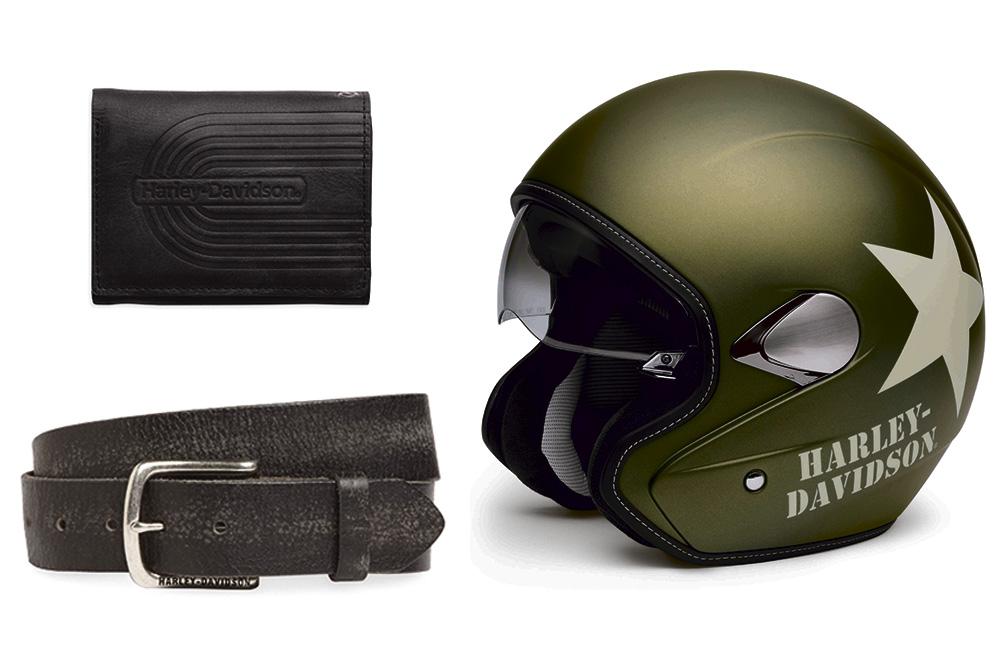 Billetero cinturón y casco Harley Davidson