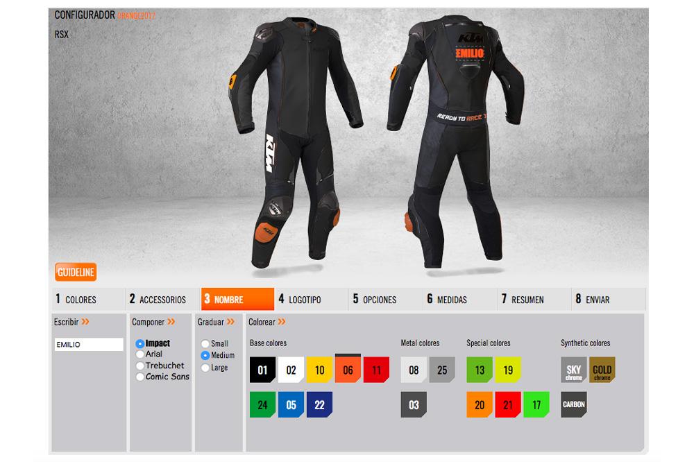 Personaliza tu mono cuero KTM