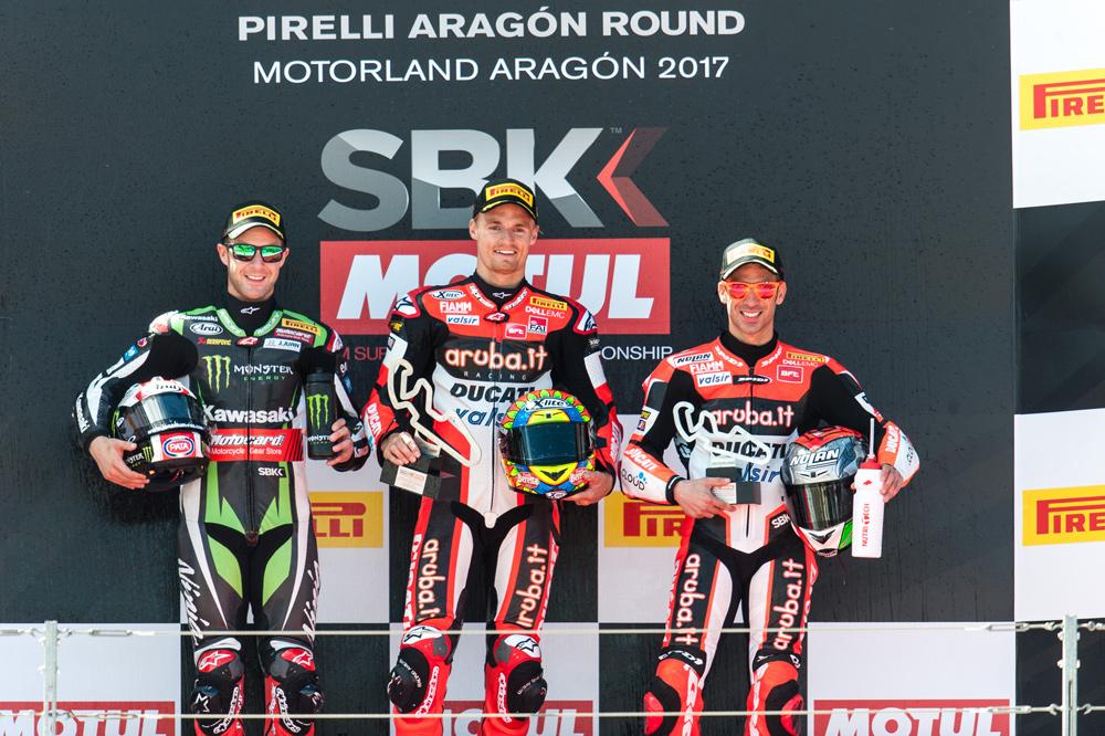 Podio de la segunda carrera SBK Motorland Aragon