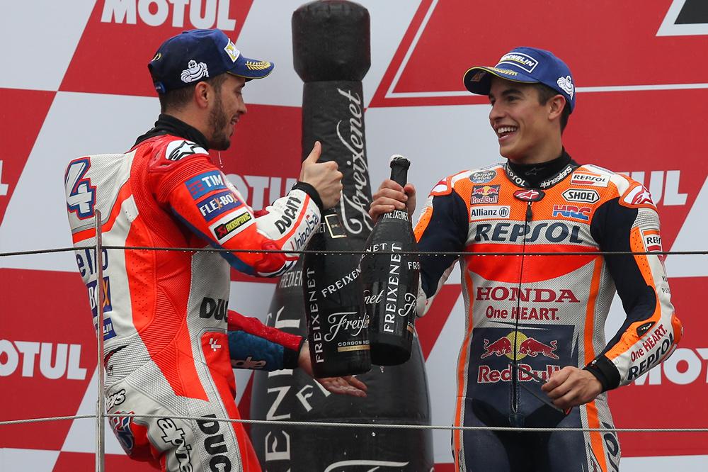 Podio Gran Premio Japon MotoGP 2017: Dovizioso y Marquez