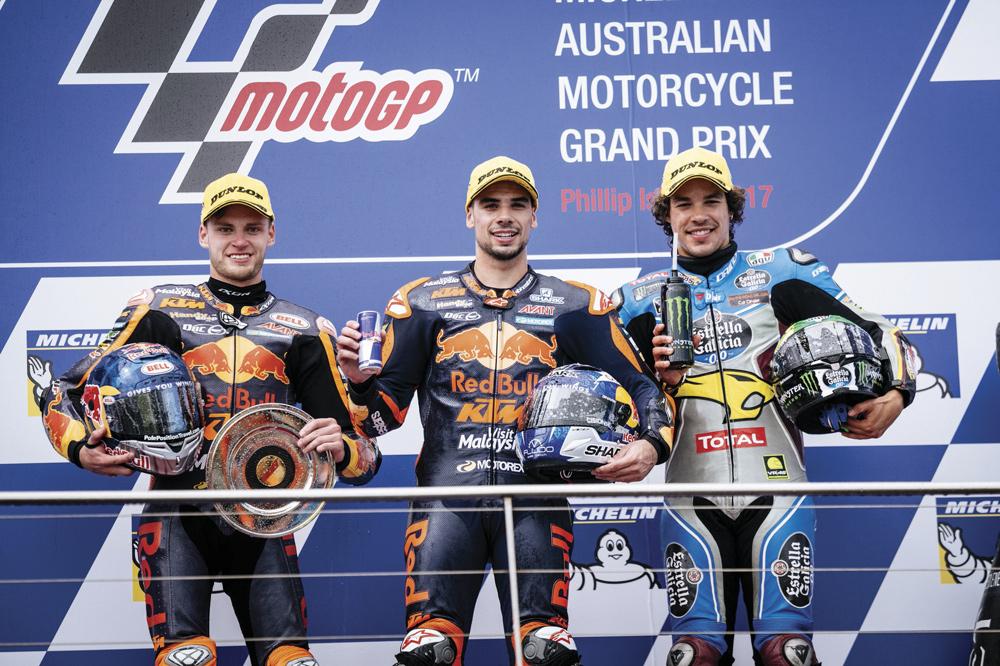 Podio GP Australia Moto2: Binder, Oliveira y Morbidelli