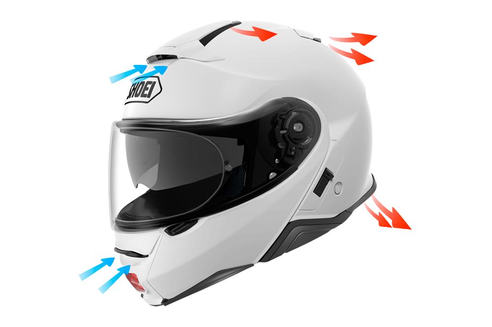 Detalle ventilación del casco NEOTEC II de Shoei