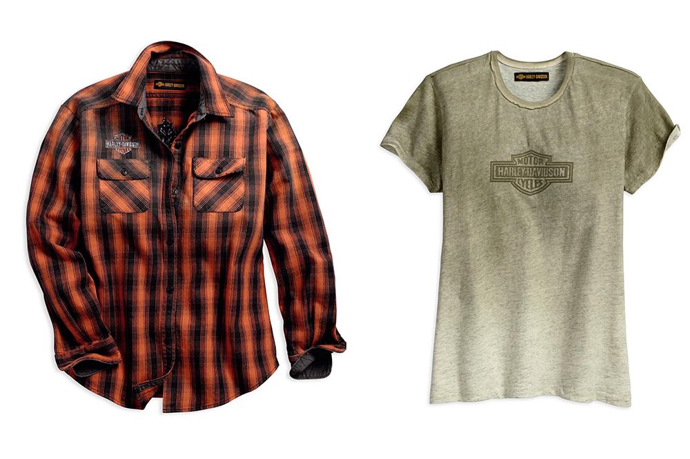 Camisa de cuadros y camiseta desgastada de Harley-Davidson