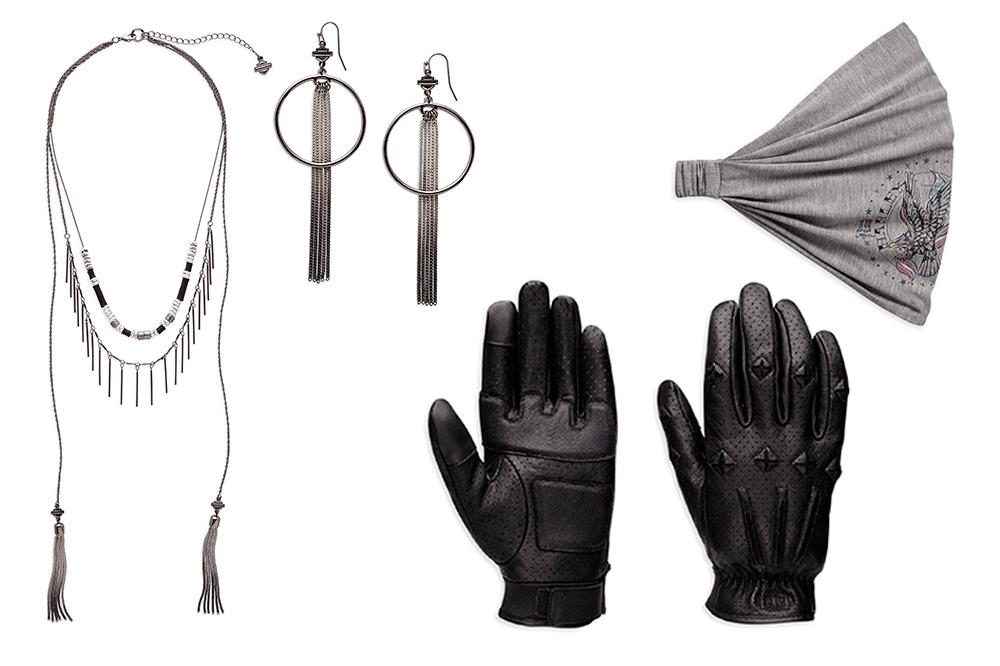 Collar, pendientes, badana y guantes Harley-Davidson para chicas