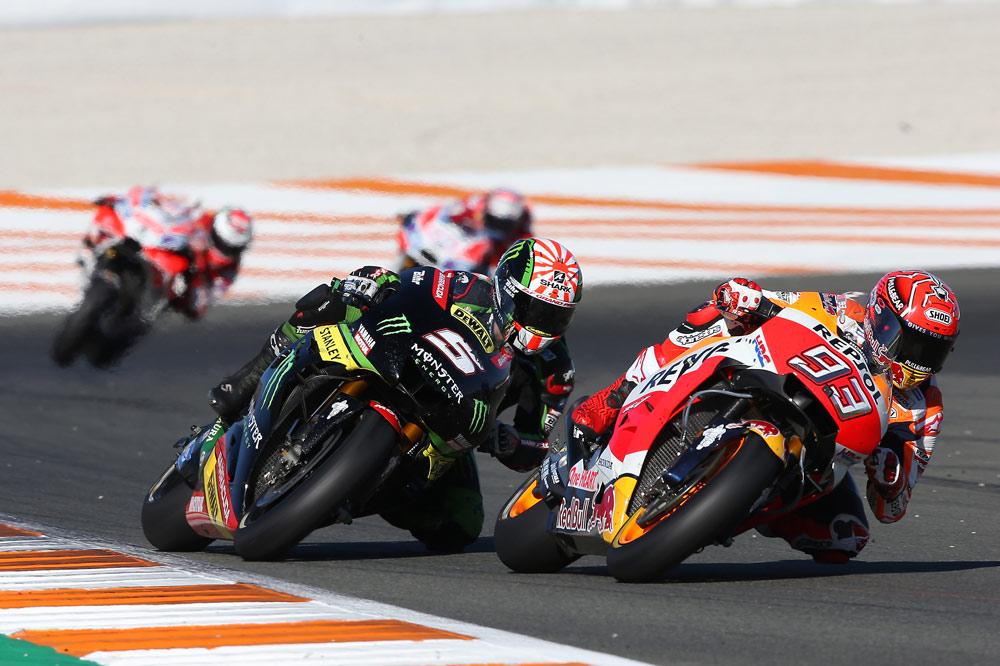 Marc Marquez y Johann Zarco en el Gran Premio de Valencia 2017