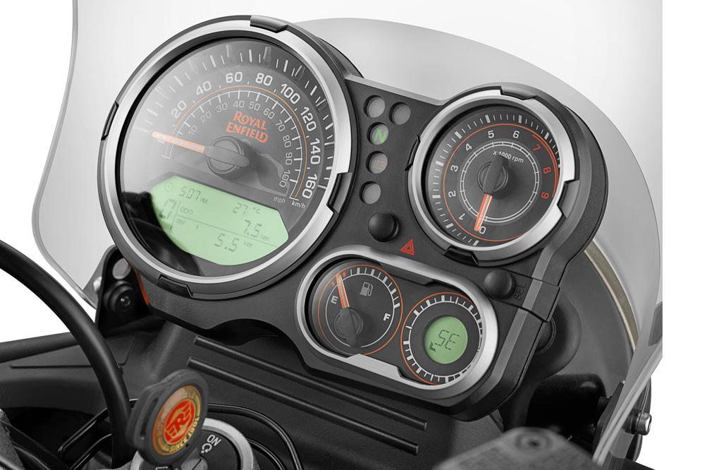 Motor de la Royal Enfield Himalayan 410 cuadro instrumentación