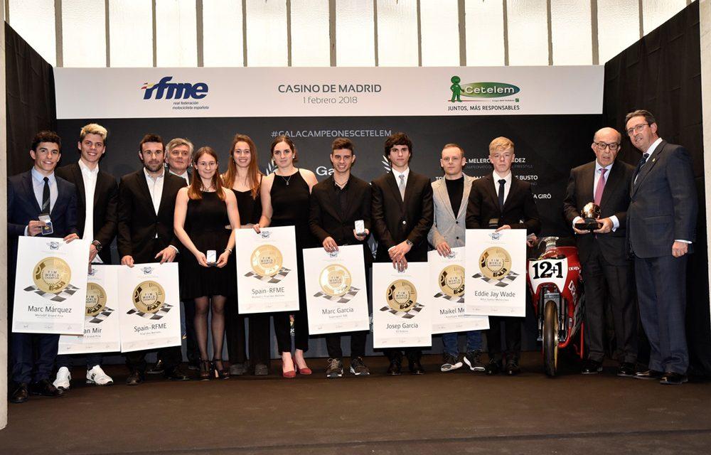 La RFME rinde homenaje a los campeones del mundo de motociclismo