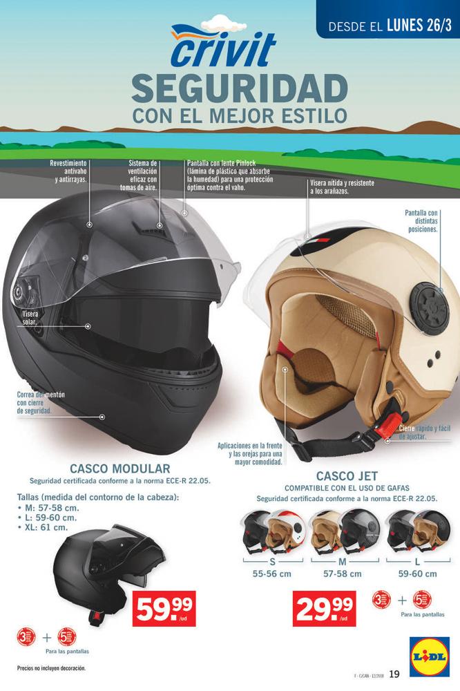 Cascos Lidl para moto abierto y modular