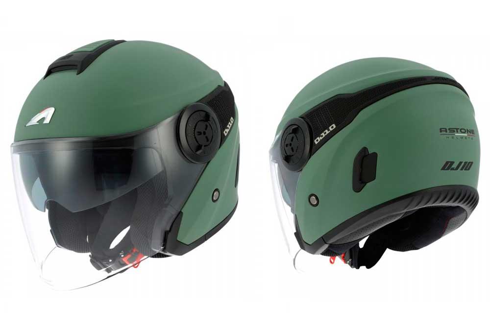 Casco Jet DJ10-2 de Astone modelo BIcolor verde/negro