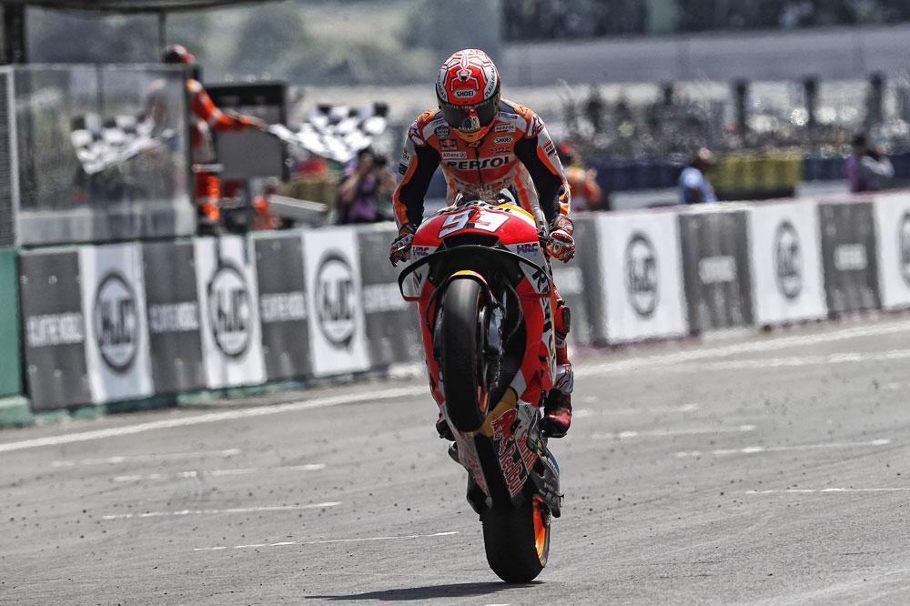 Llegada a meta de Márquez en el GP de Francia