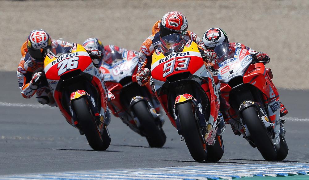 Marquez, Pedrosa, Lorenzo y Dovizioso durante el GP de Jerez