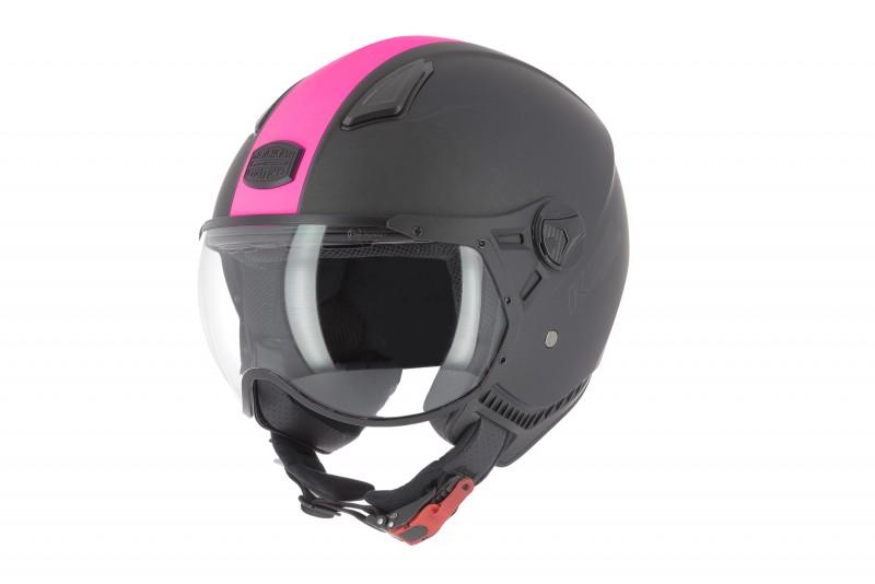 Casco jet KSR2 de Astone negro y rosa