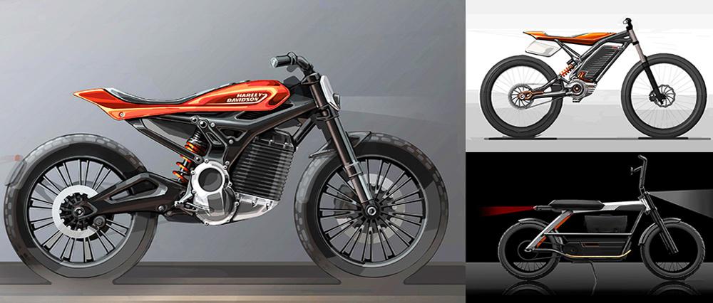 Bocetos de lo que podría ser una linea de motos eléctricas Harley Davidson