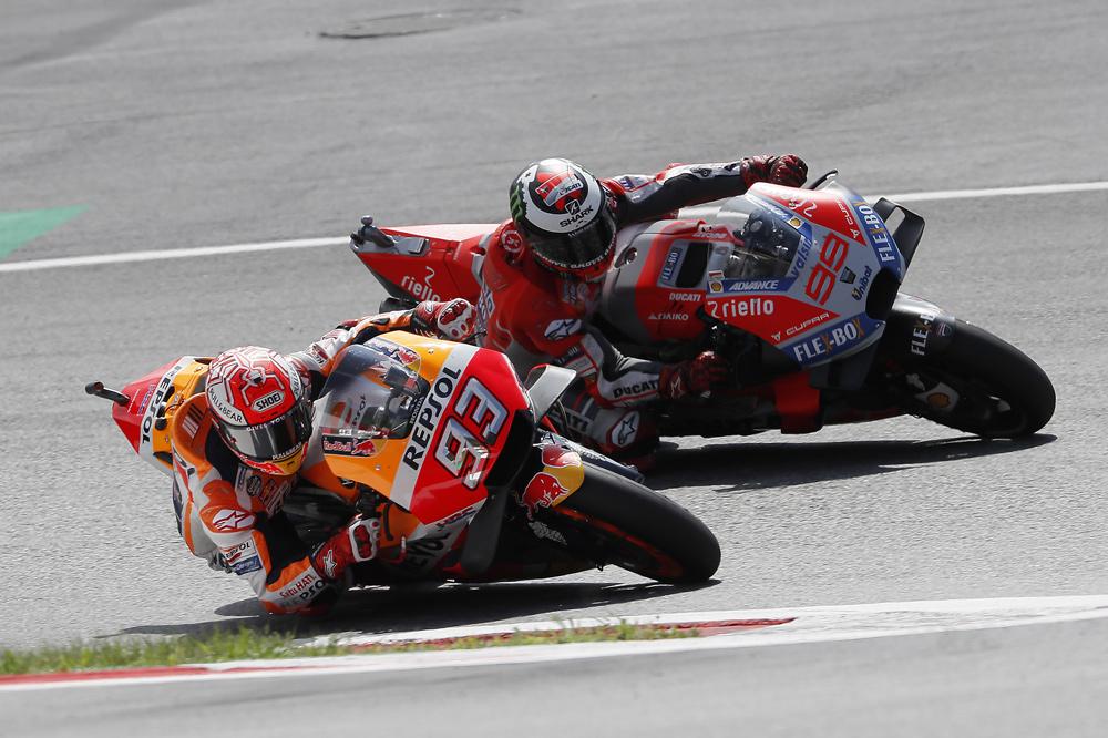 Marquez y Lorenzo durante el GP de Austria