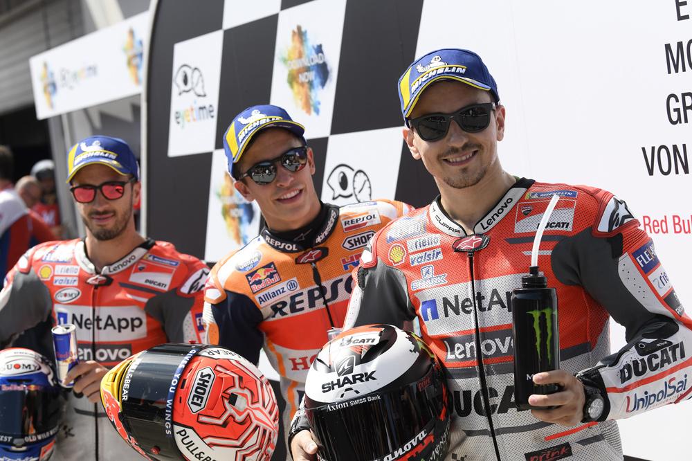 Jorge Lorenzo, Marc Márquez y Andrea Dovizioso