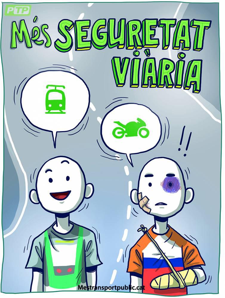 Campaña en Barcelona a favor del transporte público y en contra de las motos