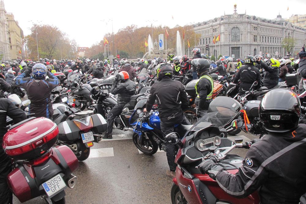 Manifestación de motos en Madrid, el pasado 16 de diciembre de 2018