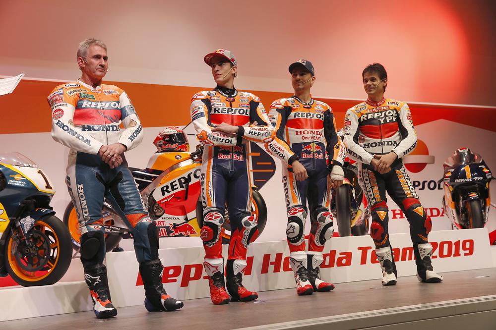De izquierda a derecha, Mick Doohan, Marc Márquez, Jorge Lorenzo y Alex Crivillé
