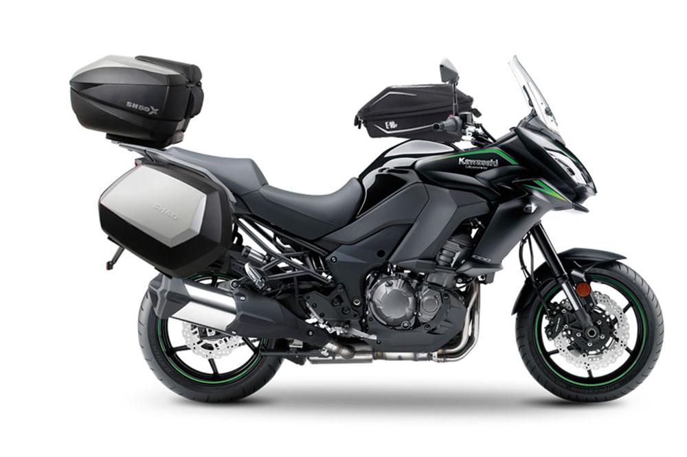Maletas, top cage y bolsa sobre depósito Shad para Kawasaki Versys 1000