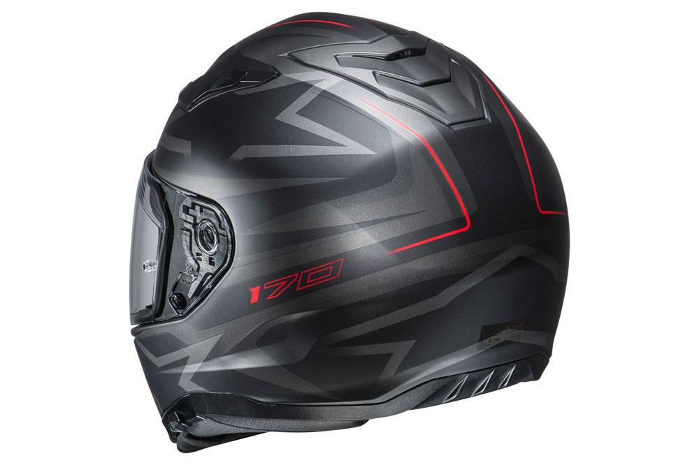 Casco integral i70 de HJC en negro, gris y rojo