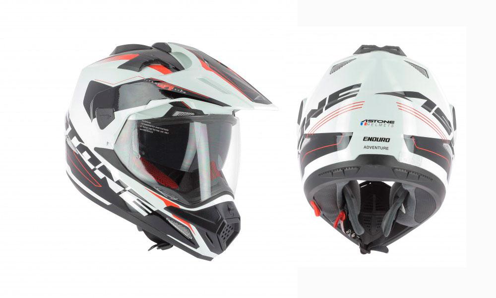 Casco Crosstourer de Astone Helmets blanco, rojo y negro