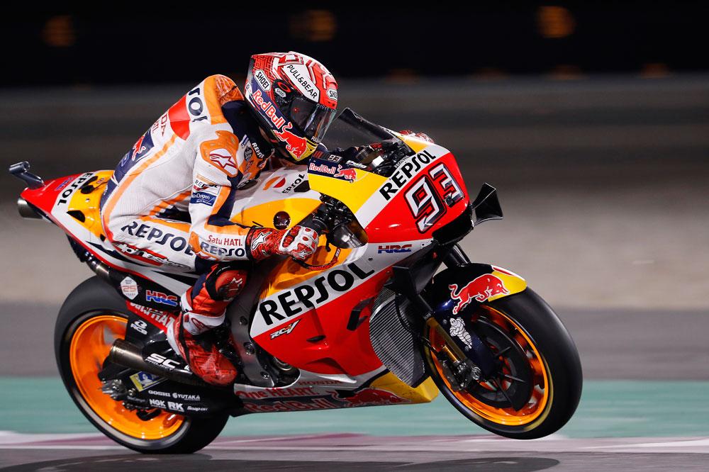 Marc Márquez estuvo disputando la victoria hasta el último momento en el GP de Qatar