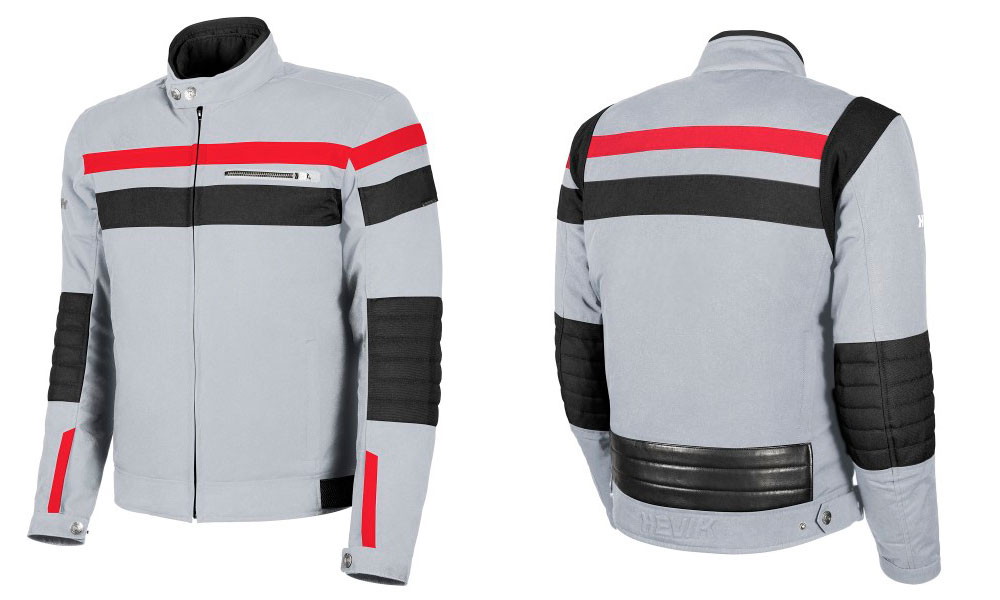 Chaqueta moto BlackJack en blanco, rojo y negro de Hevik