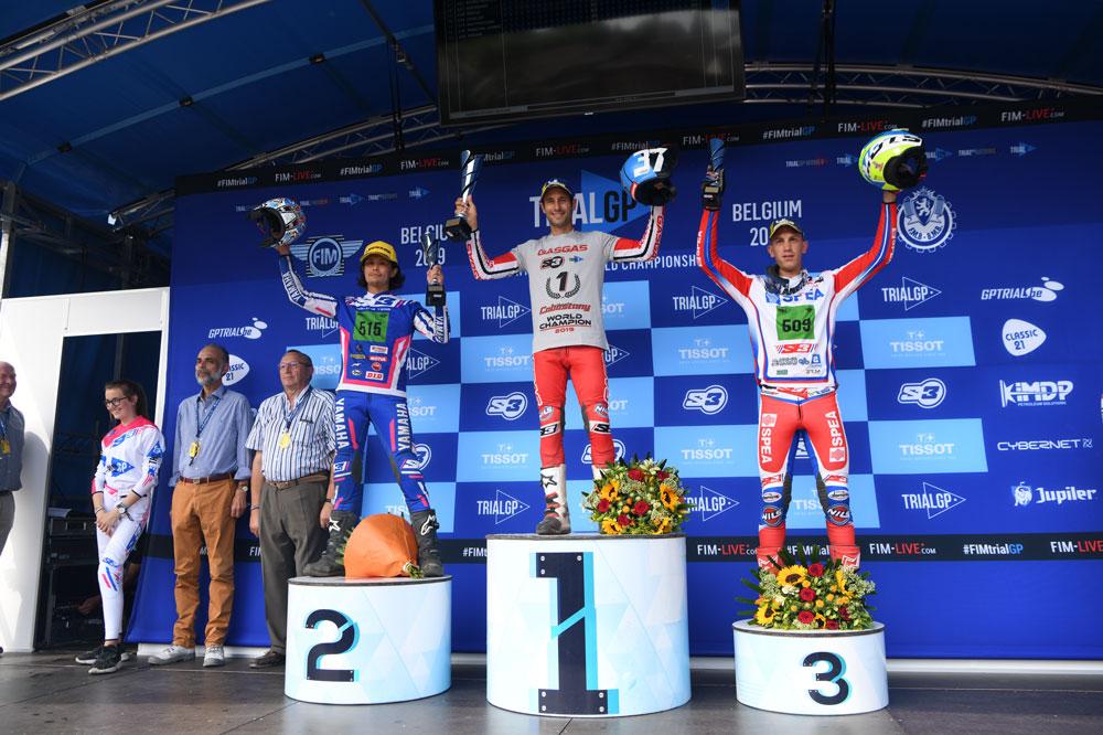 Podio de la segunda carrera del Campeonato del Mundo de Trial para motos eléctricas