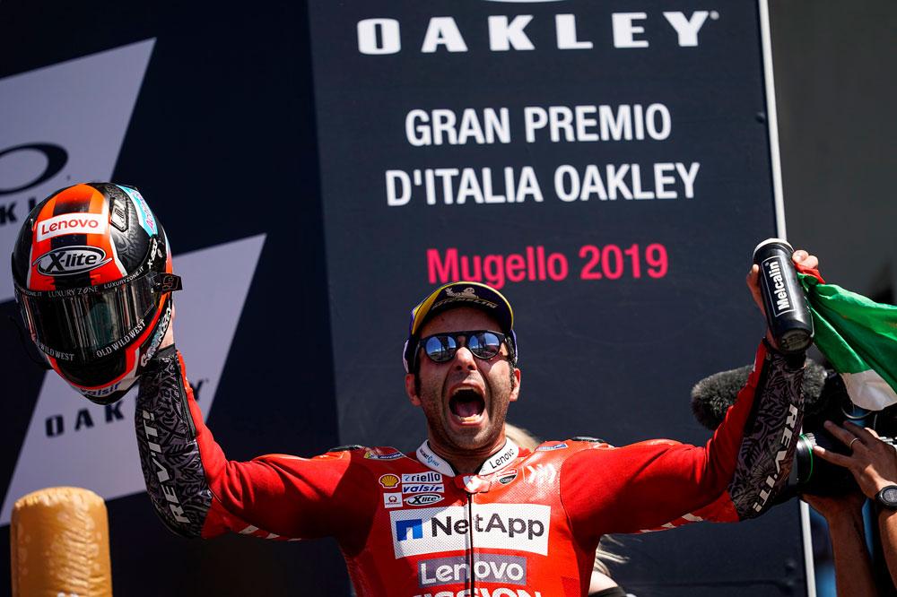 La primera victoria de Danilo Petrucci en MotoGP fue en Mugello, en el GP de Italia esta temporada