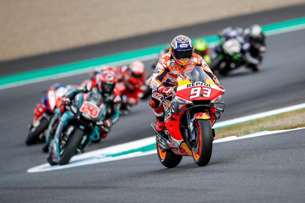 Marc Márquez por delante de Quartararo en la carrera del GP de Japón