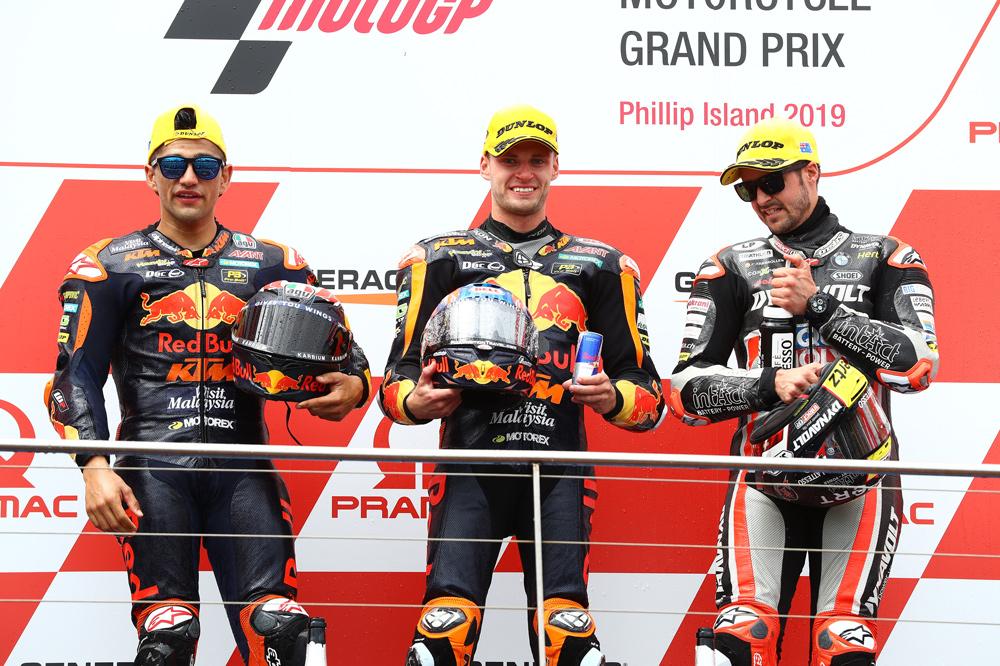 El podio de Moto2 del Gran Premio de Australia estuvo integrado por Binder, Jorge Martín y Thomas Luthi