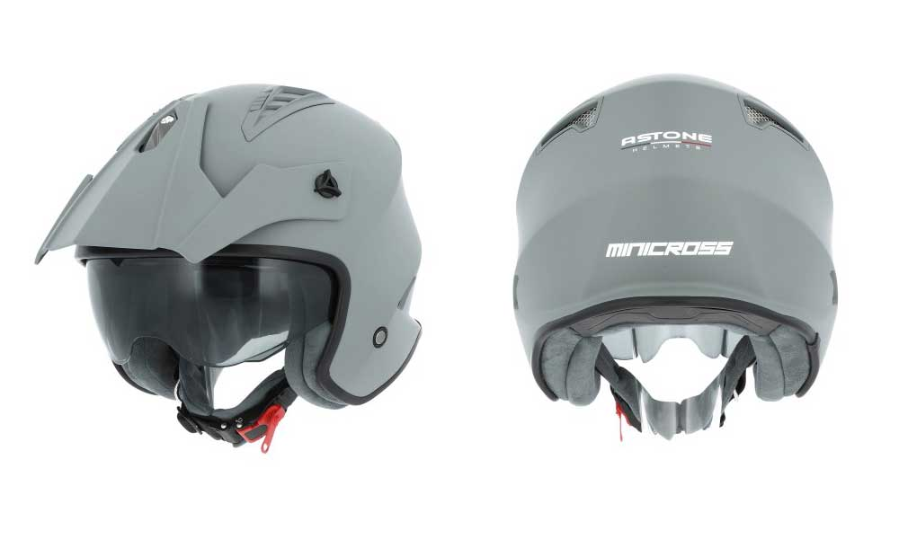 Casco jet Minicross gris de Astone Helmets