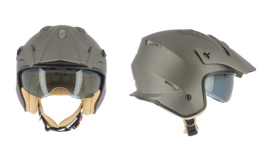 Casco jet Minicross marrón de Astone Helmets