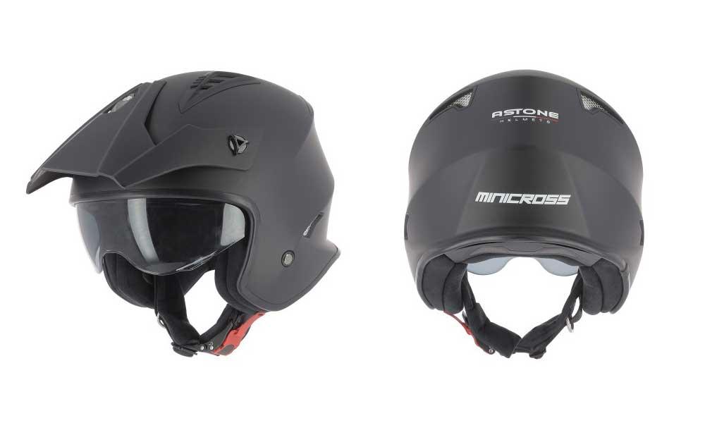 Casco jet Minicross negro mate de Astone Helmets