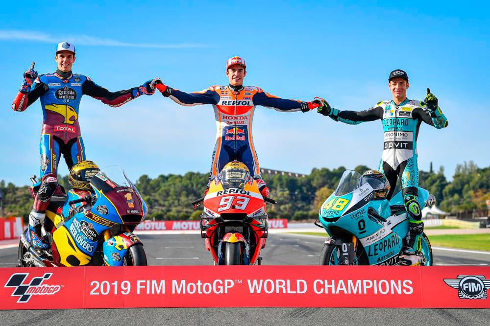 Alex Marquez, Marc Marquez y Lorenzo Dalla Porta, campeones del mundo 2019