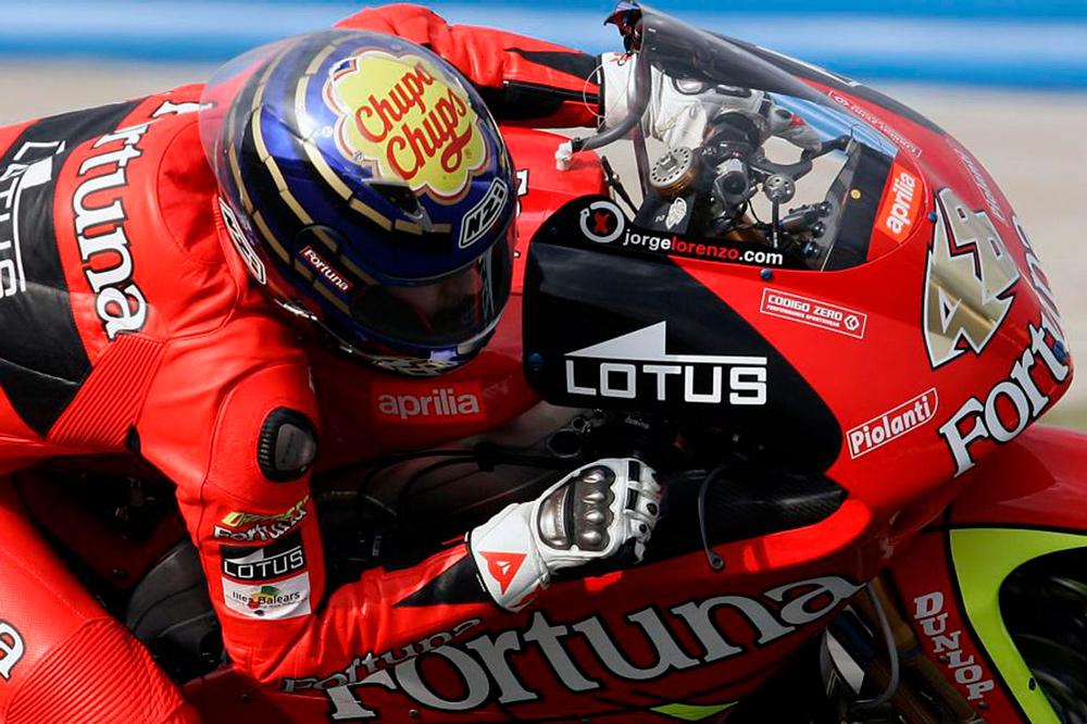 Jorge Lorenzo logró dos títulos mundiales en 250 con Aprilia