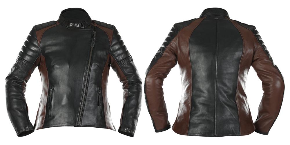 Chaqueta piel Tina de Overlap en marrón y negro