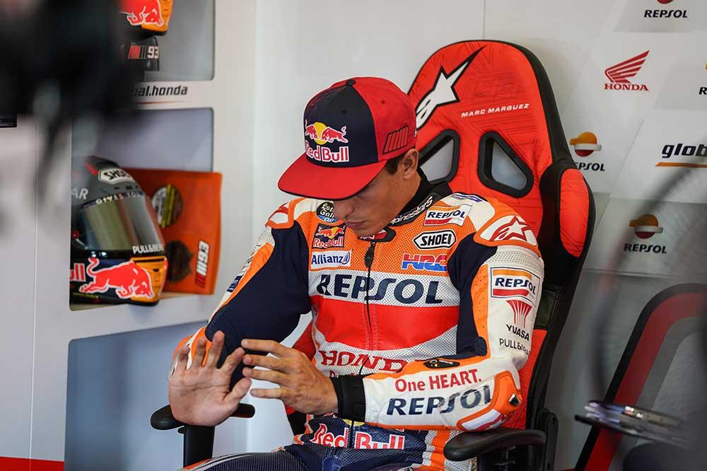 Marc Márquez intentó tomar la salida del GP de Andalucía de MotoGP