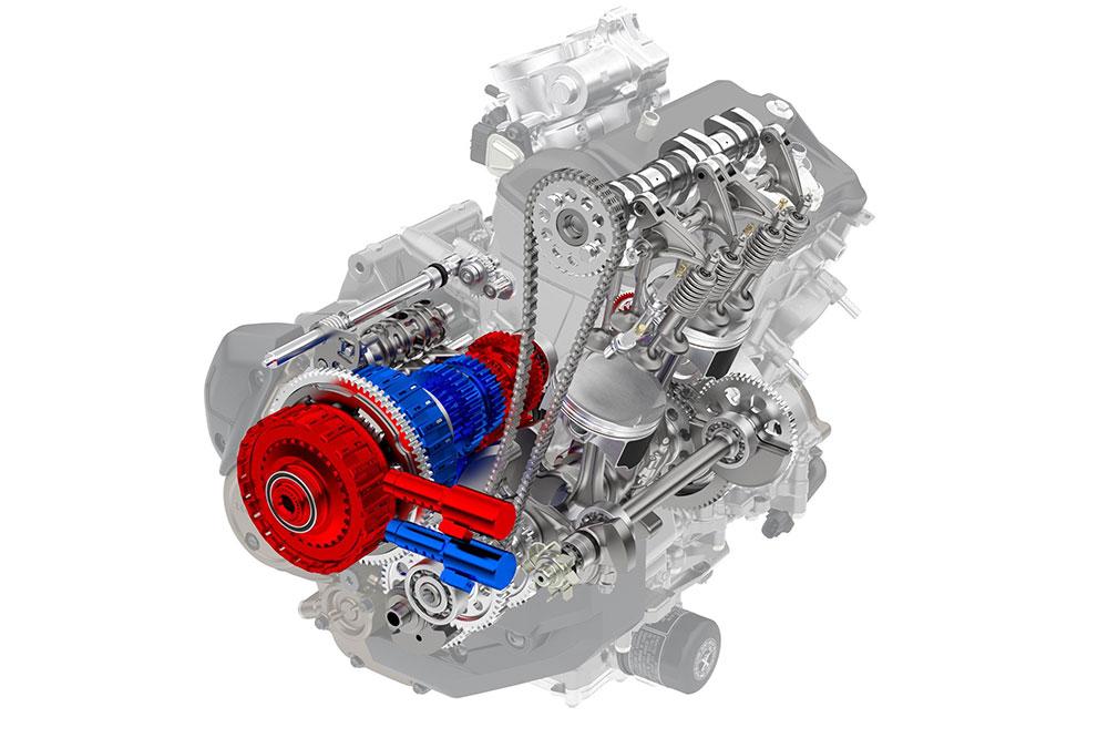 Interior de un motor de moto con sistema de transmisión semiautomática Honda DCT