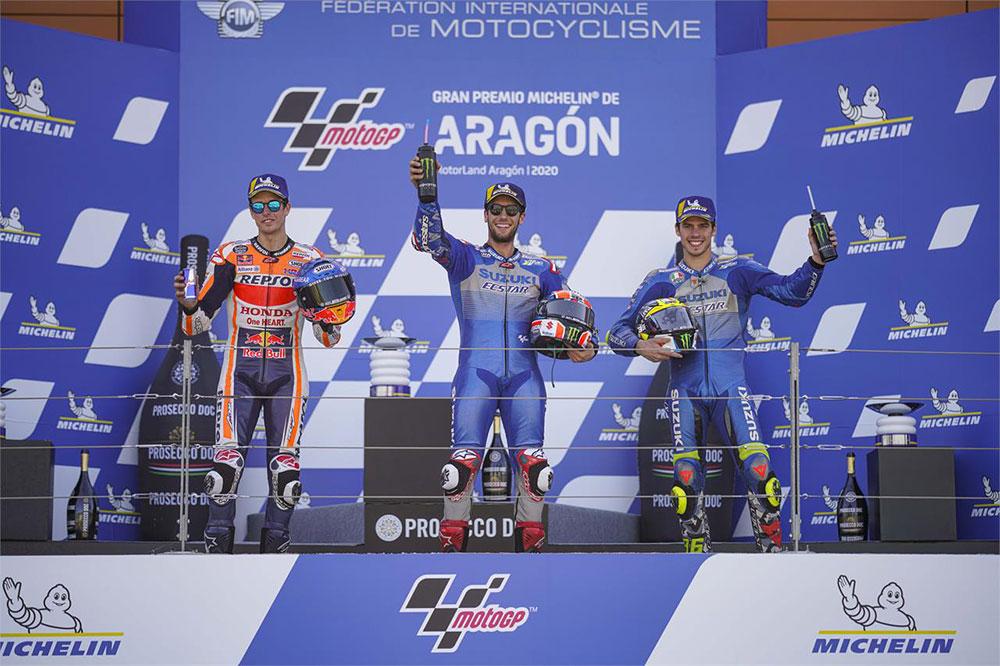 Podio del Gran Premio de Aragón: Rins, Márquez y Mir, que ahora es líder del Mundial